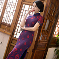 TIC-TEC chinese cheongsam long qipao lace embroidery slim vintage sexy dresses women tradicional party weeding clothes P3284