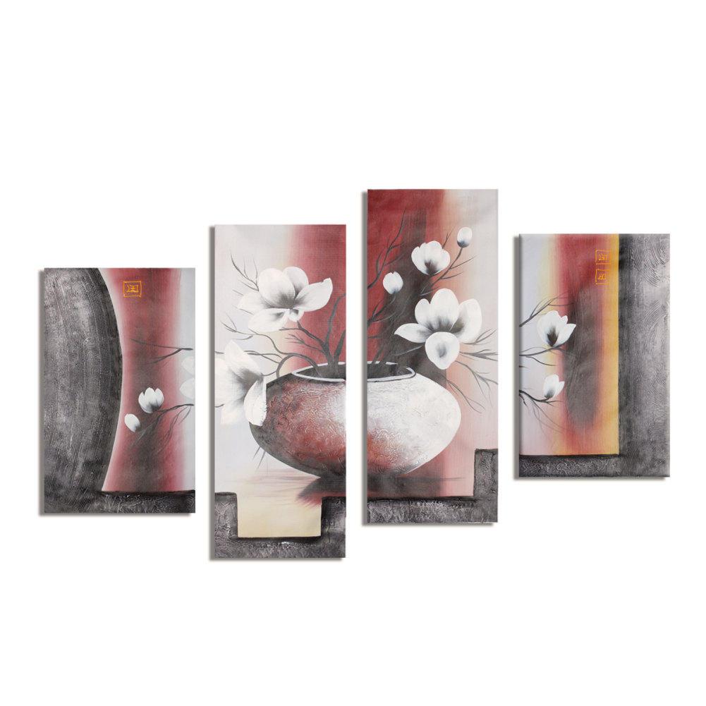 line Shop Tangan dicat lukisan minyak bunga kanvas yang Modern abstrak Modular gambar mewarnai oleh nomor gambar seni dinding untuk ruang tamu