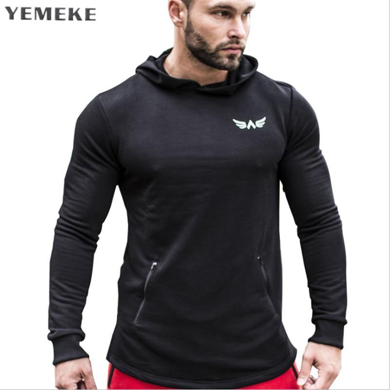 YEMEKE New 2018 Autumn Winter Men Sweatshirt Letter Print Hot Sale High Quality Men Hoodies Khaki red gray black. Tracksuit