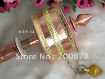 TBC926  Tibetan cane hand-held big Prayer Wheel,brass and red copper Buddhist Mani wheel,380mm long