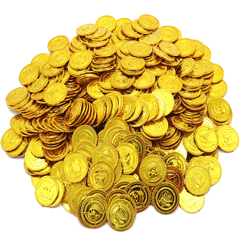 100 Pcs/set Children's Pirate Treasure Toys Treasure Hunting Game Props Pirate Gold Coin Silver Coin Copper  Coin Toys