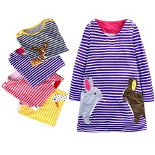 Baby Girls Cotton Dress Princess Children Clothing Robe Fille Applique Kids Spring Rabbit print Jersey Dresses for Girls