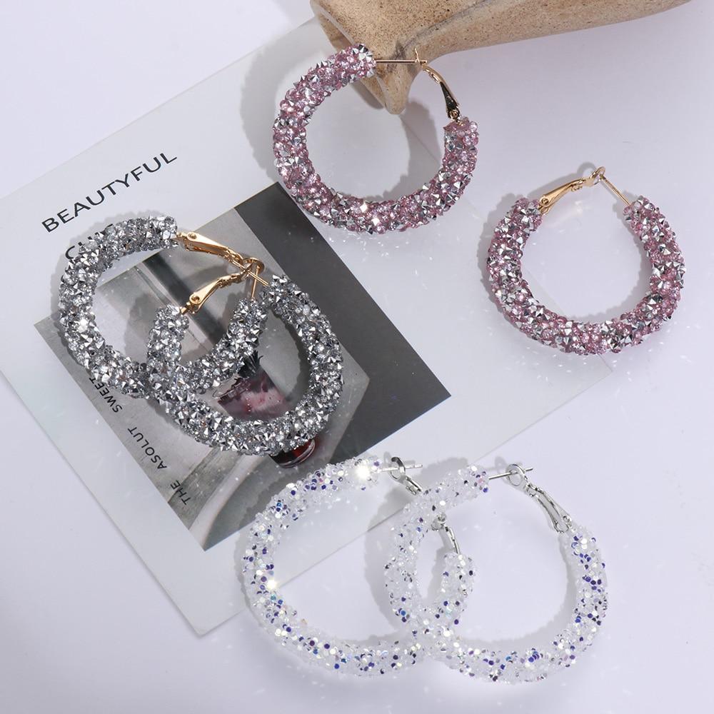 1 Pair New Design Fashion Charm Austrian Crystal Hoop Earrings Geometric Round Shiny Rhinestone Big Earring Jewelry Accessories