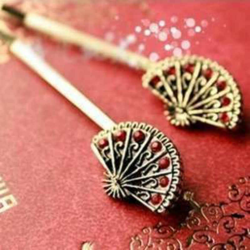 Fashion Vintage Chinese Fan Sub Crystal Hairpin Word Folder Clip Hair Accessories Jewelry Bridal Hair Accessories Hair Pins