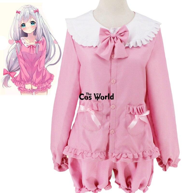 Eromanga Sensei Izumi Sagiri Cute Pajamas Nightgown Sleepwear Tops Pants Uniform Outfit Anime Cosplay Costumes