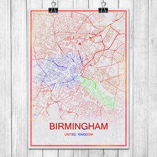 Modern Colorful World City Map BIRMINGHAM UK Poster Abstract Coated Paper Bar Pub Living Room Home