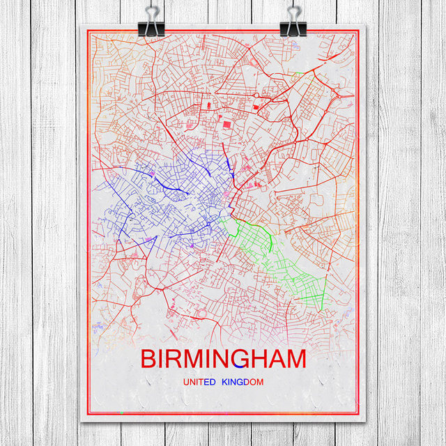 Modern colorful world city map birmingham uk poster abstract coated modern colorful world city map birmingham uk poster abstract coated paper bar pub living room home gumiabroncs Choice Image