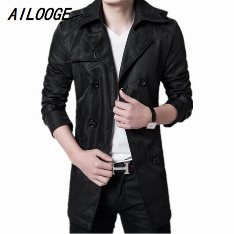 AILOOGE 2017 Trench Coat Men Autumn Spring Double Breasted Men Outerwear Casual Coat Men's Jackets Windbreaker Mens Trench Coat