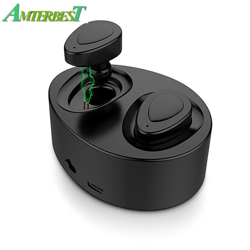 Amterbest Tws K2 Twins Tragbare Mini Wireless Ohrhörer Stereo Power Bank Bluetooth Kopfhörer Stereo Headset Mit Ladestation Hochglanzpoliert