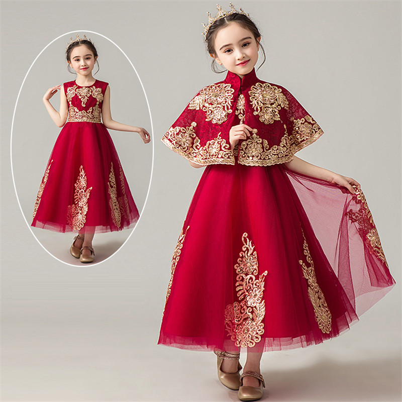 2019 Summer Elegant Children Girls O-Neck Embroidery Lace Wine-red Birthday Wedding Party Evening Long Dress Kids Infant Dress