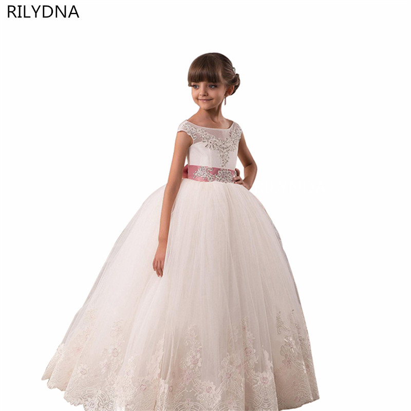Pageant Dresses for Girls Glitz Long Sleeves Lace Up Ball Gown Appliques Bow Sashes Birthday First Flower Girl Dresses Hot Rated купить в Москве 2019