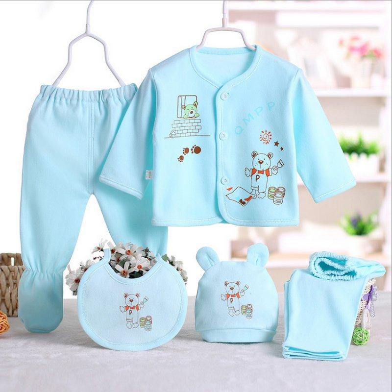 Cartoon Underwear 100% Cotton Newborn Baby 0 3M Clothing Set Brand Baby Boy/Girl Clothes 5pcs