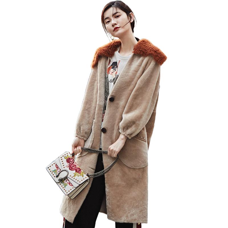 Color De Double Laine Zt1087 Picture Tops Veste face 2018 Fourrure Manteau Vêtements Réel Femme Hiver Automne Femmes Coréenne Sx4Tq1gw