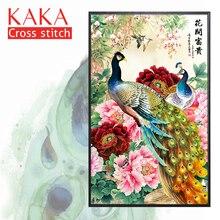 KAKA Cross zestaw do szycia zestawy do robótek ręcznych z nadrukowany wzór, płótno 11CT, dekoracja do domu lub ogrodu, kwiaty paw