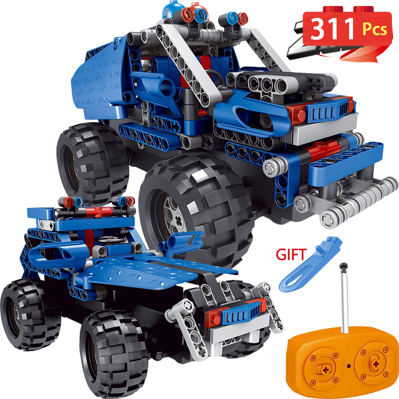 2 IN 1 Radio Control RC Blue SUV Car building blocks Compatible LegoINGlys Remote Control Vehicle Toy DIY toy for children Gift 2 in 1 rc car compatible legoinglys radio technical vehicle green suv control blocks assembled blocks children toys gift