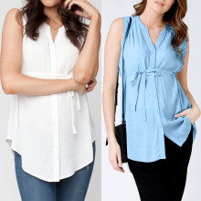 Vetement femme, женские топы для беременных и кормящих мам, летняя однотонная блузка в полоску для грудного вскармливания, одежда ropa de mujer