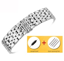 купить 18/20/22mm Stainless Steel Watch Band Strap Silver Polished Mens Luxury Replacement Metal Watchband Bracelet Accessories по цене 741.82 рублей