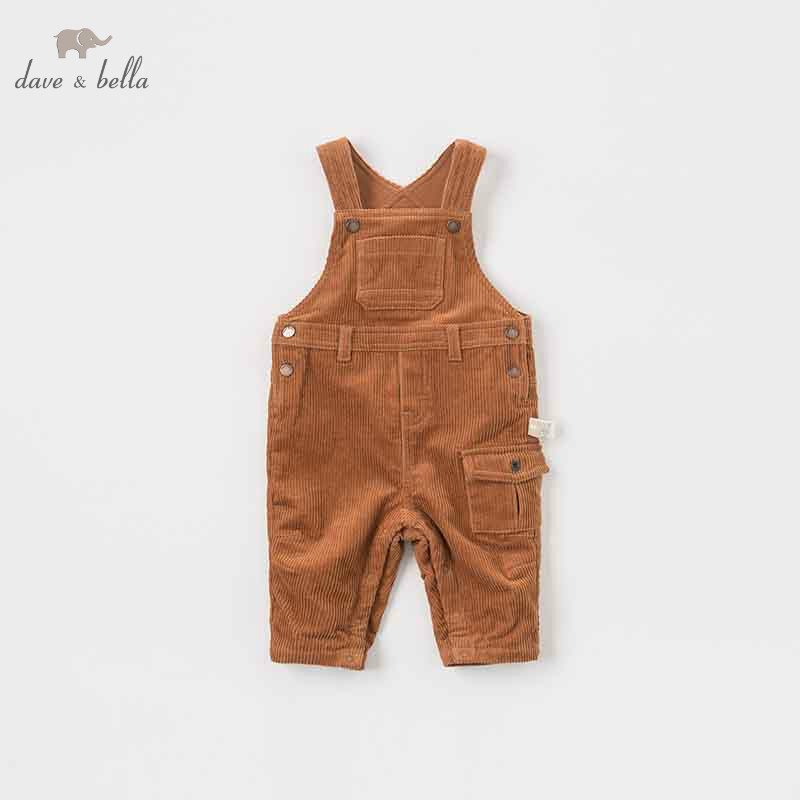 DB8541 dave bella winter baby boy solid sleeveless romper infant toddler jumpsuit children boutique romper 1 piece