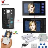 YobangSecurity 2X 7 Inch Monitor Wifi Wireless Video Door Phone Doorbell Video Intercom RFID Password Door