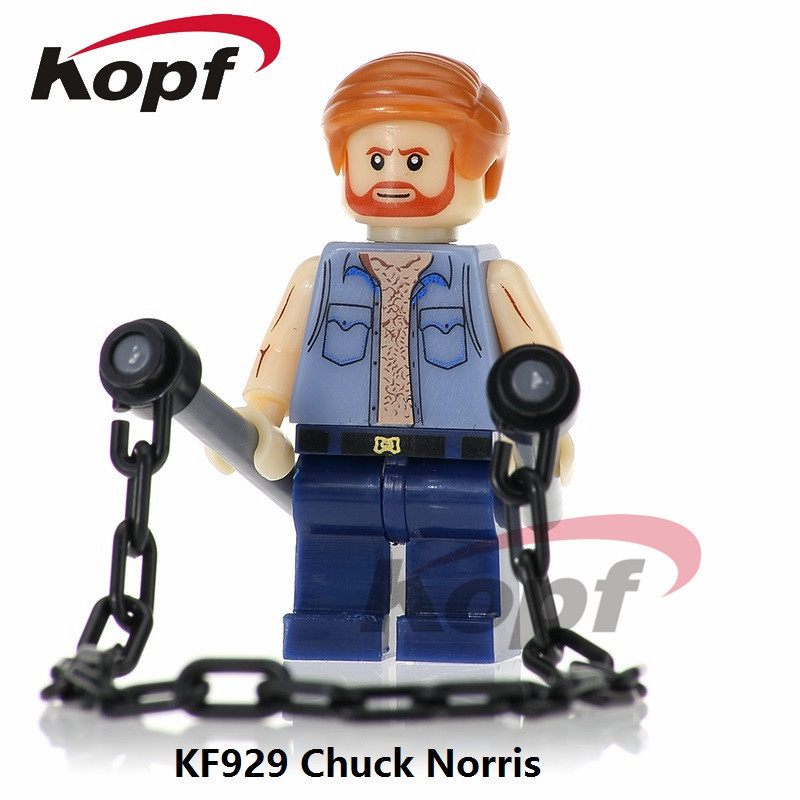 Single Sale The king of Action Films Super Hereos Chuck Norris Terminator Bride Building Blocks Bricks Children Gift Toys KF929 single sale super heroes red yellow deadpool duck the bride terminator indiana jones building blocks children gift toys kf928