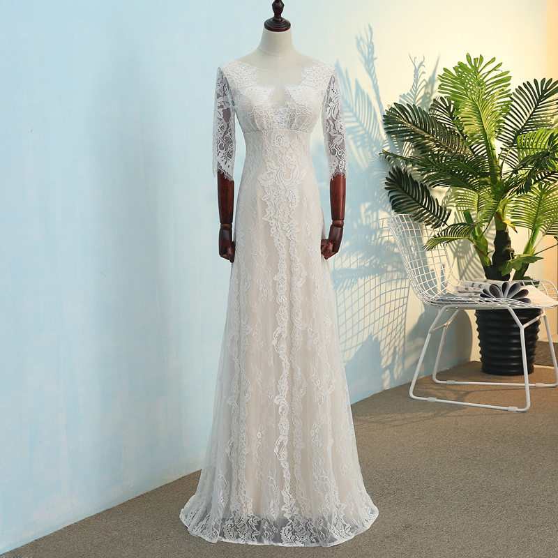100% real photo Backless O-neck Lace Zipper Half Sleeve Wedding Dresses 2019 Vestidos de Noiva Plus Sizes Bridal Gowns