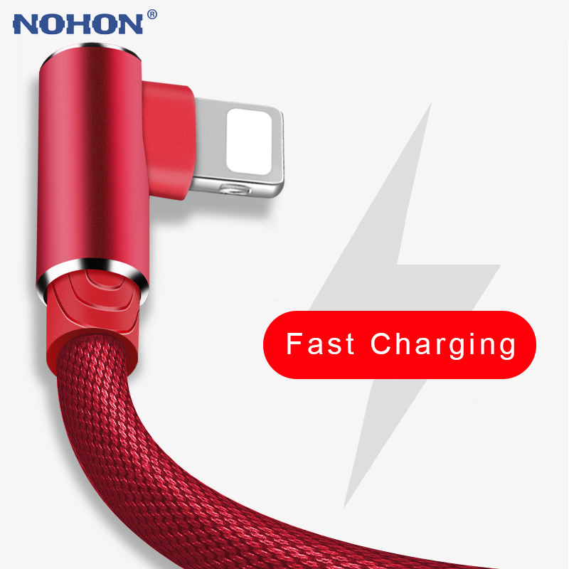 1m 2m 3m 90 Degree USB Data Charger Cable For IPhone X XR Xs Max 5 6 S 6s 7 8 Plus 5s SE IPad Air Fast Charging Origin Long Wire
