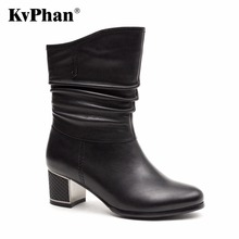 KvPhan Pleated Upper-Genuine Women Boots 2017 Autumn Metal Decoration Outsole Boots Warm Soft Outdoor Casual Med heels Shoes