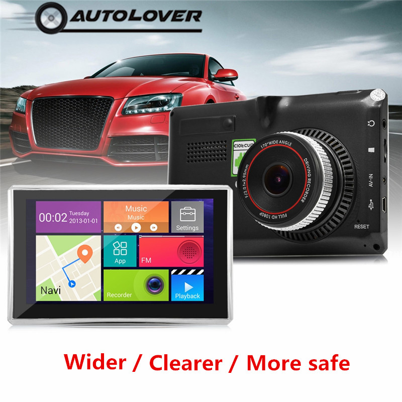 5 inch Android Dash cam 4.4 Car Tablet GPS 170 Degree Wide Angle 1080P DVR Recorder WiFi / 3G FM Transmitter WIFI Touch-screen цена 2017