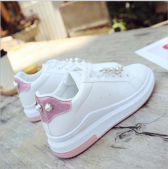 Free shipping Autumn white pearl small white shoe female thick bottom breathable female student shoe casual shoes flat shoes the spring and autumn new white shoe leather strap female flat shoes pointed deep soft bottom shoes casual student
