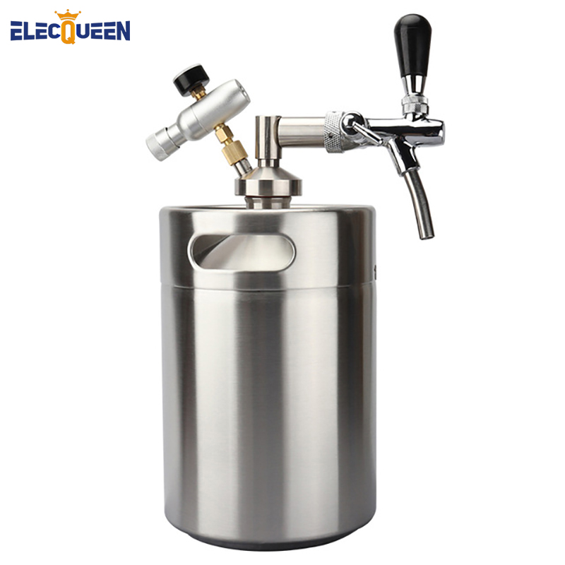 Newest Stainless Steel 5L Mini Keg Growler Mini Tap Dispenser with Adjustable Beer Tap Faucet Co2