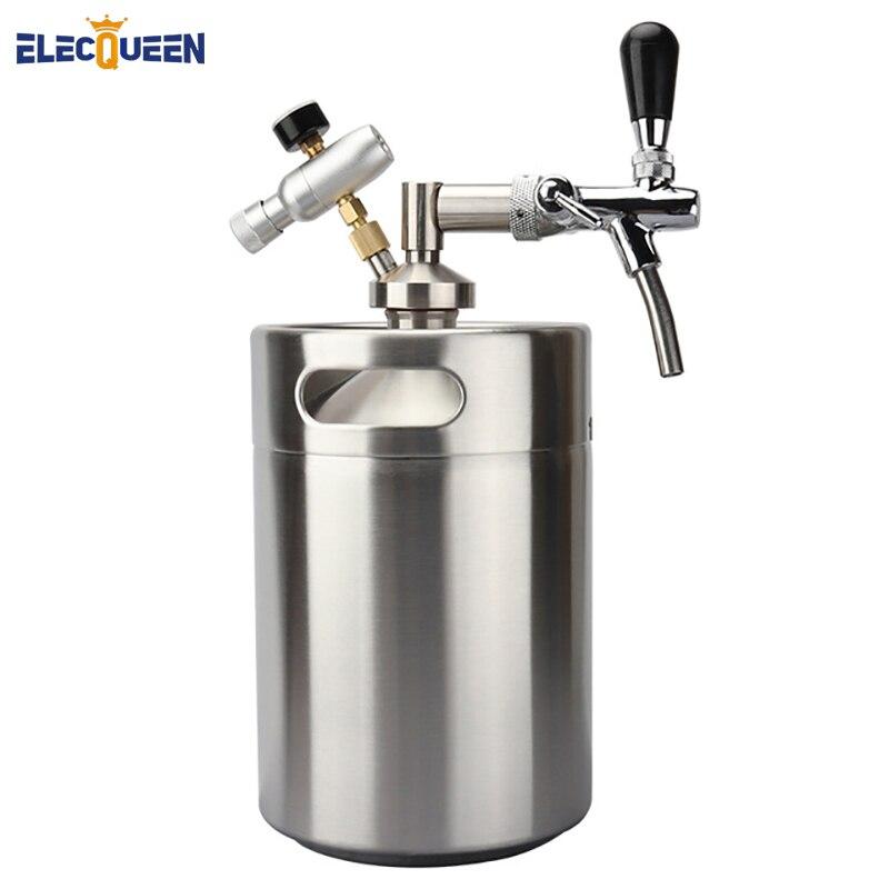 Date En Acier Inoxydable 5L Mini Baril Growler + Mini Robinet Distributeur avec Réglable pompe à Bière Robinet + Co2 keg chargeur kit