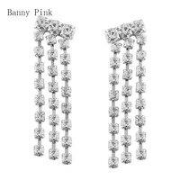 Elegant Rhinestone Tassel Chains Studs Earrings For Women Cute Crystal Statement Pendant Post Earrings Fashion Bridal Jewelry