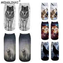 2019 New Wolf 3D Printing Animal Socks Brand Sock Fashion Unisex Cartoon Meias Female Funny Low Ankle Women