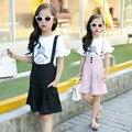 Детская Одежда мода Набор bib короткие + майка Розовый Черный девушка Комплект Одежды Детская Одежда для 5-14 возрастов принцесса габаритные костюм