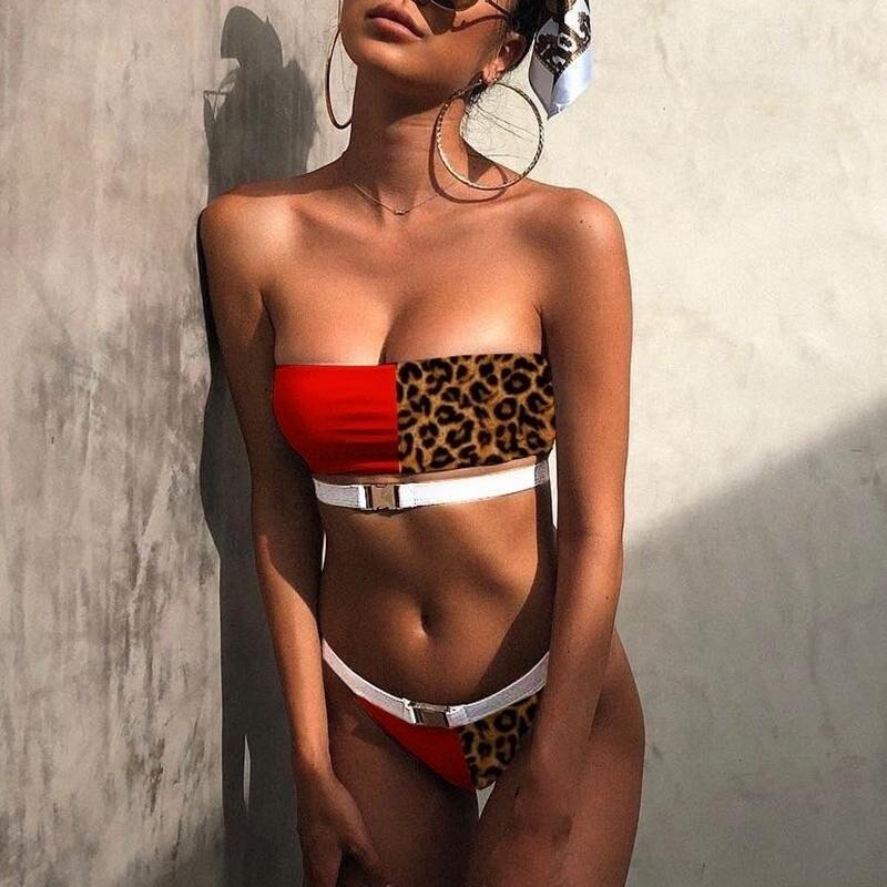 Leopard Red Swimwear Women Sexy Bandeau Swimsuit 2020 Female Thong Bathing Suit Summer Bathers Splice Buckle Bikini Set