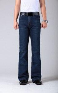 Image 2 - Mens התלקח רגל ג ינס מכנסיים גבוה מותן ארוך התלקחות ג ינס לגברים Bootcut כחול ג ינס Hommes פעמון תחתון ג ינס גברים