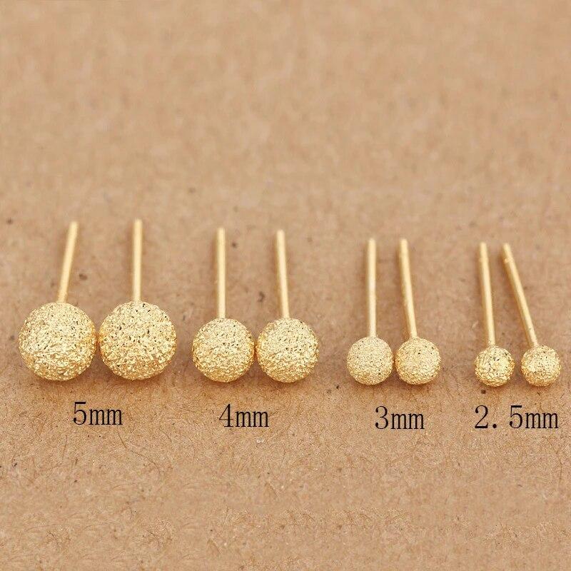 Plain Svearrings Rose Gold Matte Beads Female Models Hypoallergenic Earrings Korean Cute Style Free Shipping Earrings Korean Hypoallergenic Earringssilver Earrings Aliexpress