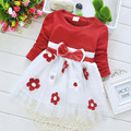 2015 Korean Blue Girls Dress Plum Blossom Flower Print Spring and Autumn Kids Clothing Size 6M-24M