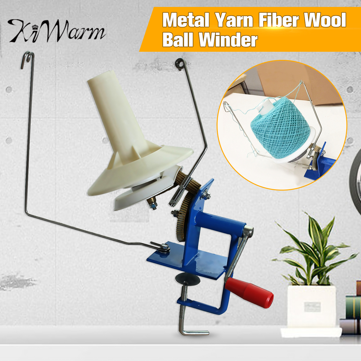 Large Metal Yarn Fiber String Ball Wool Hand Operated Cable Winder Machine Household Winder Holder Winder Fiber 10oz Heavy Duty