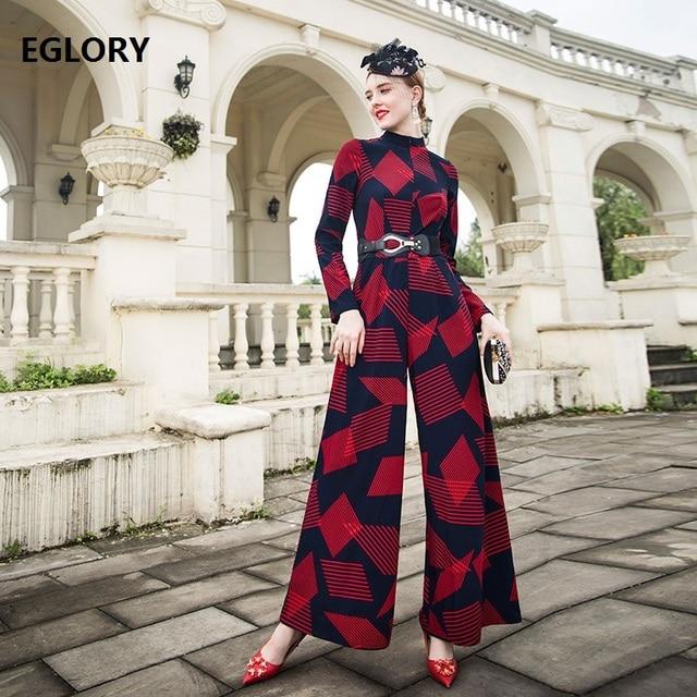 2e09db5d6137 4xl!Top Quality New Plus Size Jumpsuit Women Vintage Geometric Print Long  Sleeve Jumpsuit Ladies Wide Leg Pant Overalls Female
