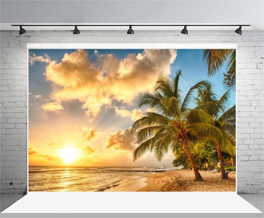 Laeacco Twilight Sunset Sea Beach Palm Trees Scenic Photography Backgrounds Vinyl Custom Photographic Backdrops For Photo Studio sunset sea surf beach fantasy landscape