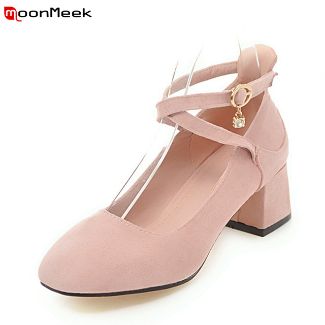 02d13ff145ab MoonMeek 2018 round toe square heel pumps women shoes casual med heels  sweet square heel with buckle female party shoes