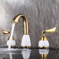 BAKALA Free Shipping Dual Handles Minispread 3pcs Golden Bathroom Faucet Brass Faucet For Bathroom GZ8201K