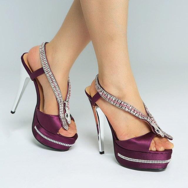 19e8b00c8c7 Bling Rhinestone Studs Sole Crystal Snake Satin Sandals Glitter Stiletto Heels  Platform Peep toe Ladies Sandals Party High Heels
