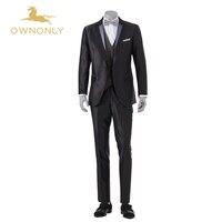 2017 ownonly Сшитые на заказ костюмы мужской Бизнес шерсть Костюмы Для мужчин свадебные официальная Вечеринка пиджак Slim Fit Костюмы