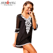 SEBOWEL 2019 Black Crochet Pom Pom Trim Beach Dress Tunic Cover Up Swimwear Women Robe De Plage Openwork Half Sleeve Lace Skirt недорого