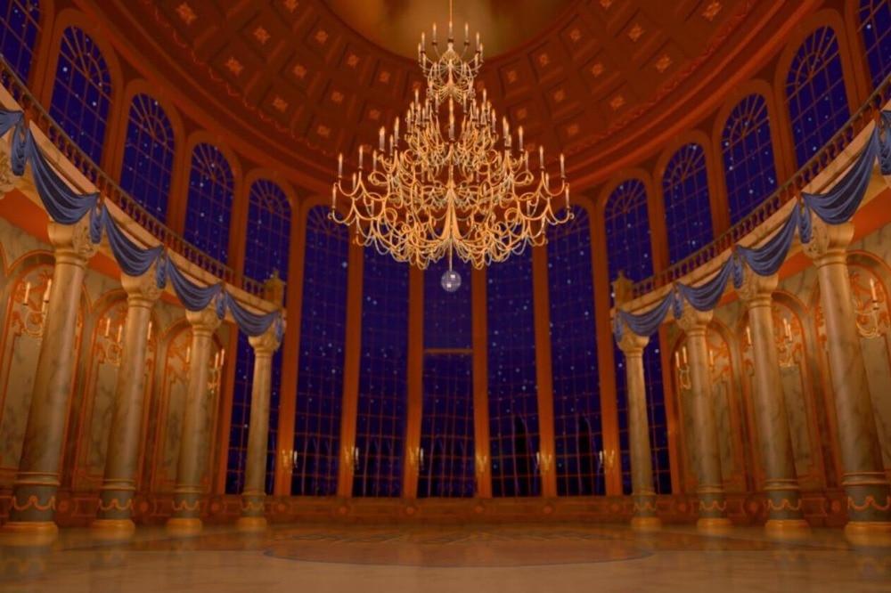 7x5FT Beauty Beast Ballroom Columns Window Blue Night Sky ...