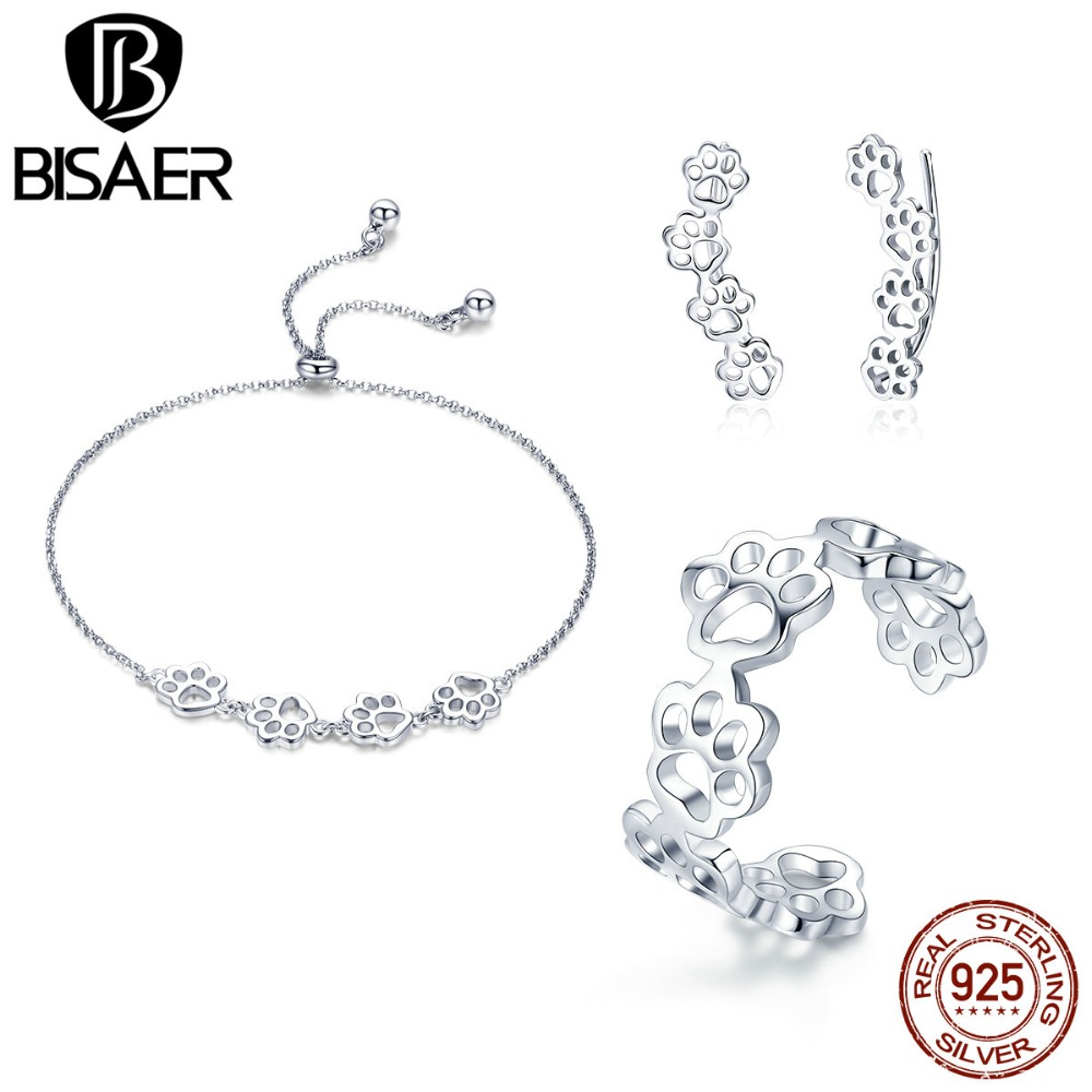 BISAER Authentic 925 Sterling Silver Jewelry Set Animal Cat Dog Footprints Women Jewelry Sets Sterling Silver Jewelry WES083BISAER Authentic 925 Sterling Silver Jewelry Set Animal Cat Dog Footprints Women Jewelry Sets Sterling Silver Jewelry WES083