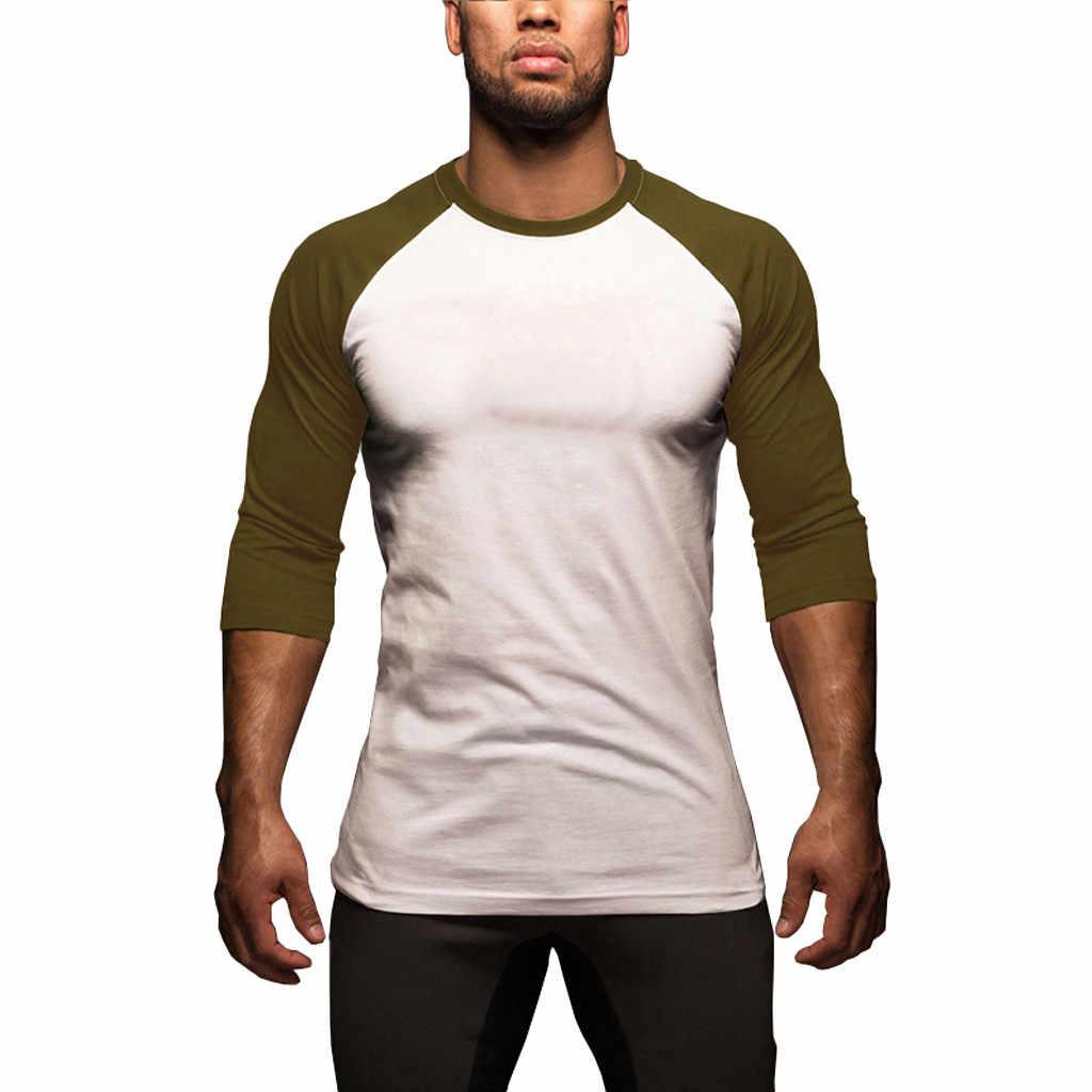 ファッション男性の夏のスリムフィットパッチワーク 3/4 長さスリーブ Tシャツトップサポート卸売ドロップシップ