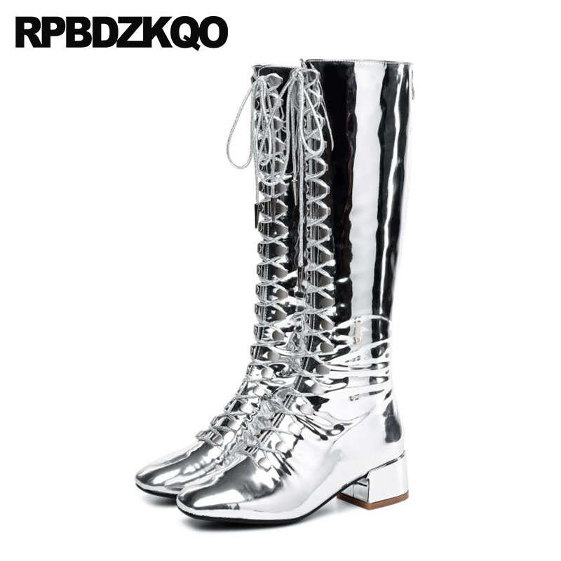 shoes silver patent leather riding knee high metallic 11 square toe 13 45  big size punk rock boots equestrian gold 12 44 chunky a32314dfc033